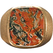 Man's Moss Agate Ring in 10 Karat Yellow Gold