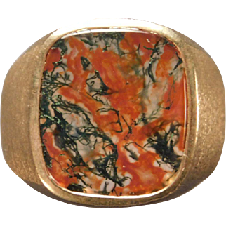 Man's Moss Agate Ring in 10 Karat Yellow Gold
