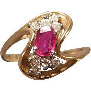 Ladies Ruby and Diamond Ring in 14 Karat Gold
