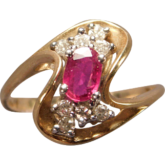 Ladies Ruby and Diamond Ring in 14 Karat Gold