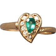 Ladies Emerald and Diamond Ring in 14 Karat Gold