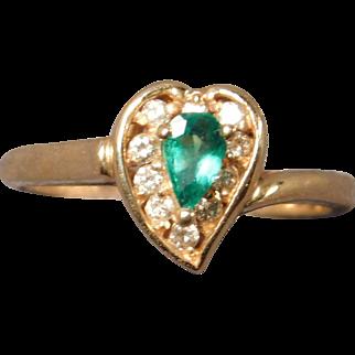 Ladies Emerald and Diamond Ring in 14 Karat Gold