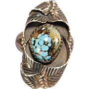 1970s Sterling Silver Turquoise Ring Southwestern