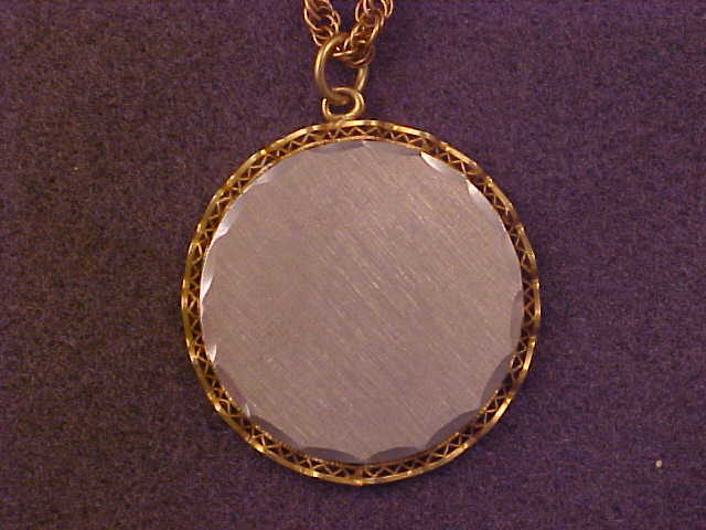 Vintage Two Tone Gold Filled Engraveable Pendant