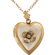 Gold Vermeil Locket with Mother of Pearl 1940s