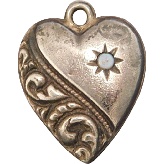 Sterling Silver Puffy Heart Charm with Opal