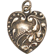 Sterling Silver Puffy Heart Repousse Charm