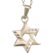 Petite Sterling Silver Star of David with 15 Inch Chain