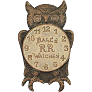 Ball Railroad Watches Advertising Pin with Owl