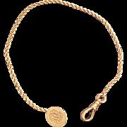 Victoria Chain Button Hole Watch Chain 14 Karat Gold  8 inch