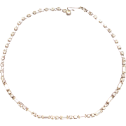Fantastic Round and Baguette Rhinestone Necklace Mint 1960s