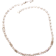 Stunning Round and Baguette Rhinestone Necklace Mint 1960s
