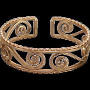 Mint Unused Krementz Cuff Bracelet 14 Karat Gold Overlay Youth Size
