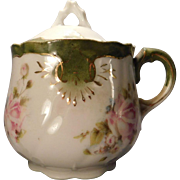 Porcelain Jam or Mustard Jar Hand Painted