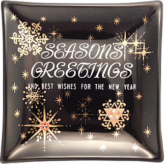Seasons Greetings Vintage Glass Card Houze Glass