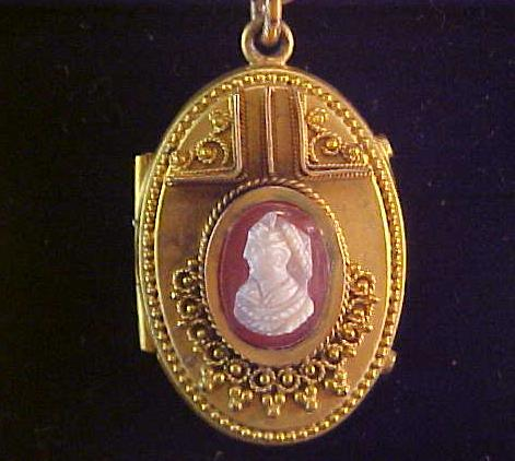 Antique Cameo Locket with Book Chain