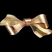 Retro Krementz Bow Pin in Pink and Yellow 14 karat Gold Overlay