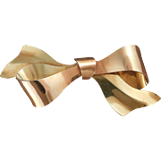 Retro Krementz Bow Pin in Pink and Yellow 14 karat Gold Overlay