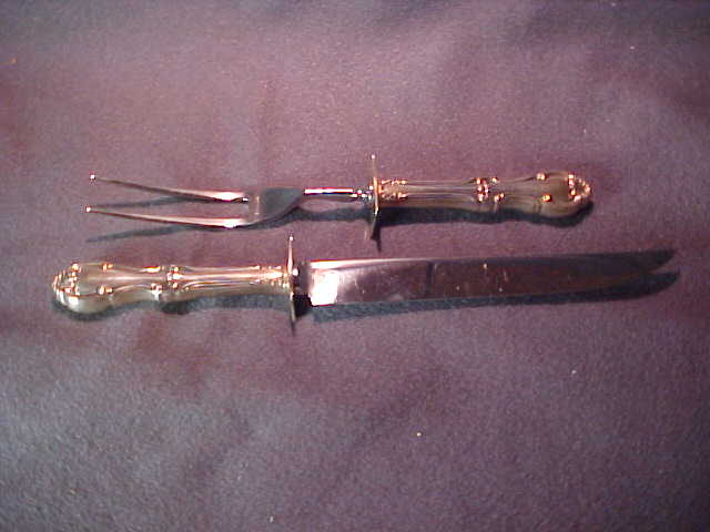 Sterling Silver Steak or Small Carving  Set Joan of Ark by International Sterling