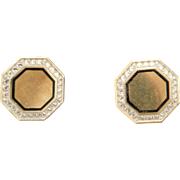 14 Karat white and Yellow Gold Earrings Converted from Cufflinks