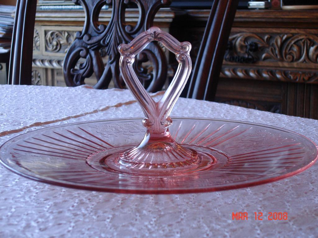 Depression Glass Pink Mayfair Sandwich Platter