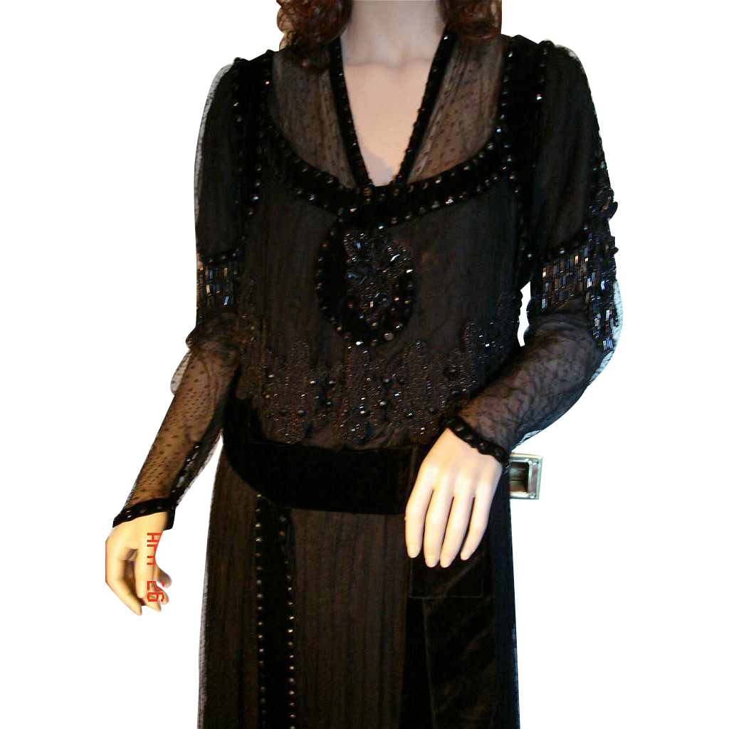 Antique Edwardian Black Beaded Lace Titantic Era Evening Gown, Museum Quality