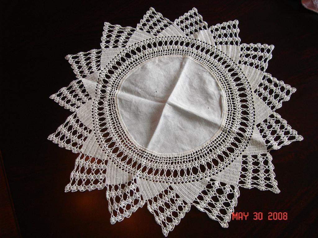 Wonderful Antique Textile:  Large Hand Made Victorian Lace Doily