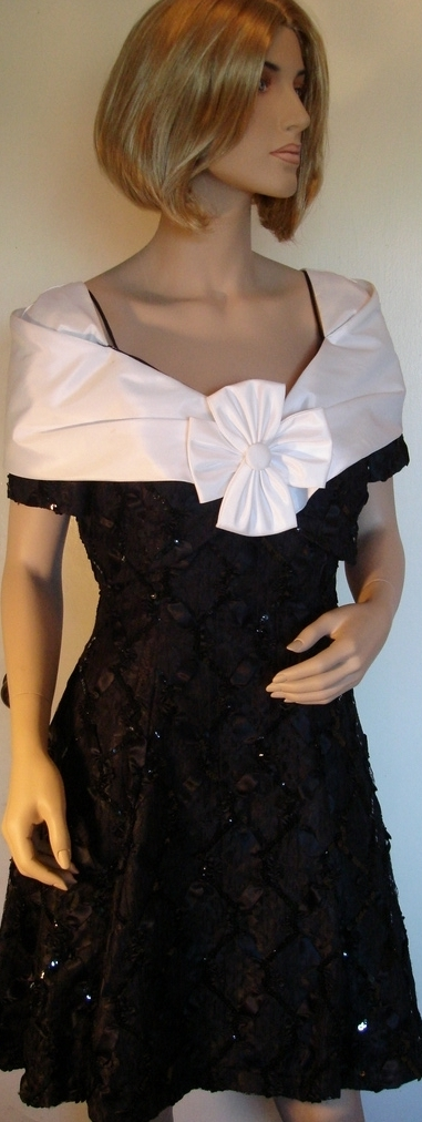 Flirty Black & White Satin & Lace Party Dress