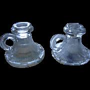 Art Deco Era Pressed Glass Candle Holders