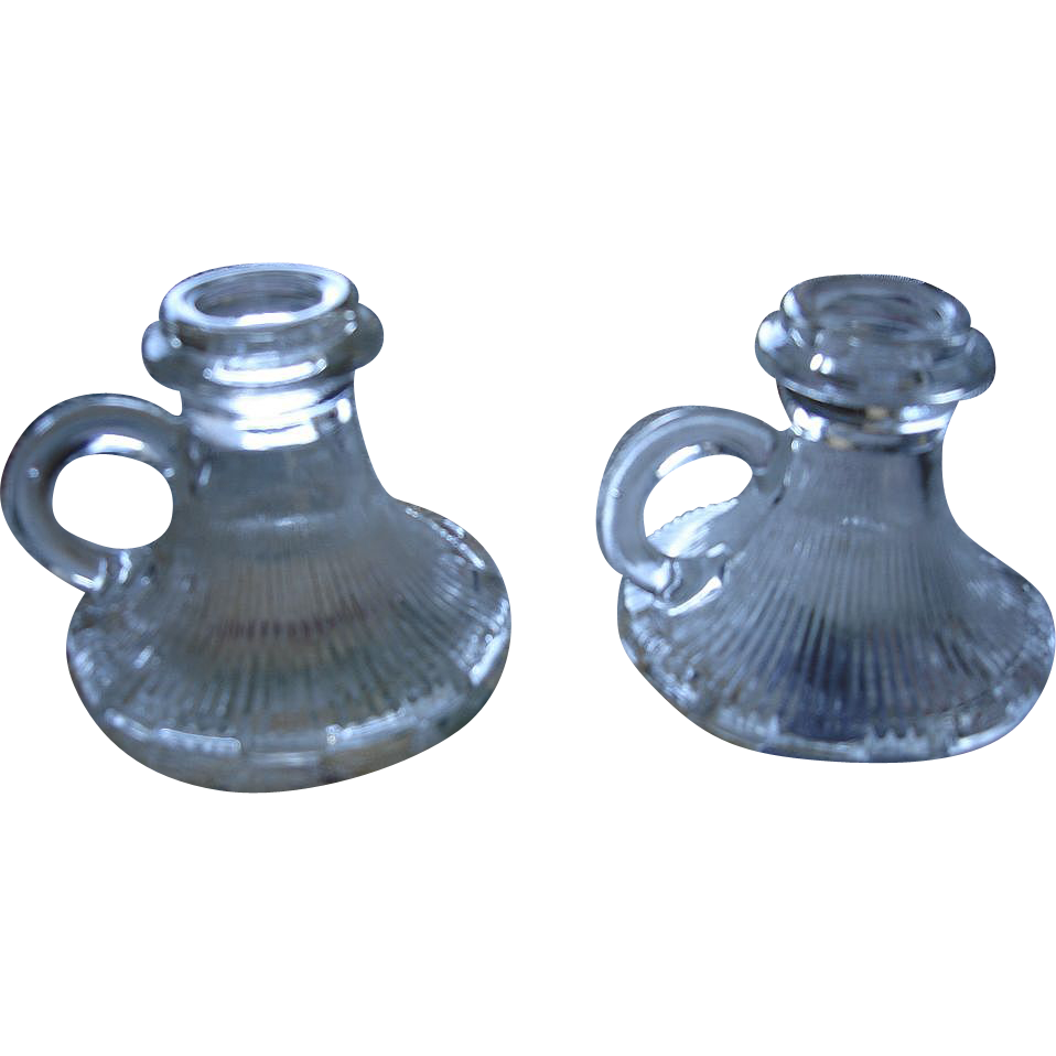 Art Deco Era Pressed Glass Candle Holders
