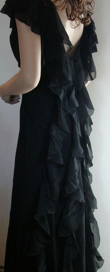 1930 Slinky Silk Chiffon Black Evening Gown
