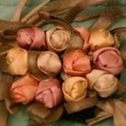 1920 Silk Rose Buds, Beautiful Vintage Textile