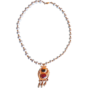 Vintage Cultured Pearl & Gold Plated Art Deco Necklace