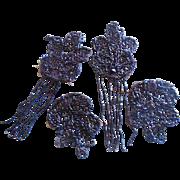 Victorian Jet Black Glass Beaded Medallions