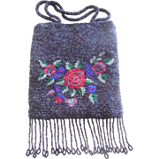 1930's Art Deco Beaded Black Bag with Roses