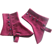 Edwardian Deep Red Suede Spats