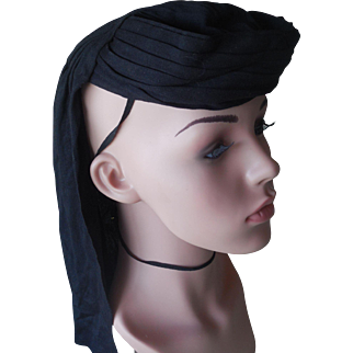 Vintage 1920's Black Silk Eqyptian Style Hat