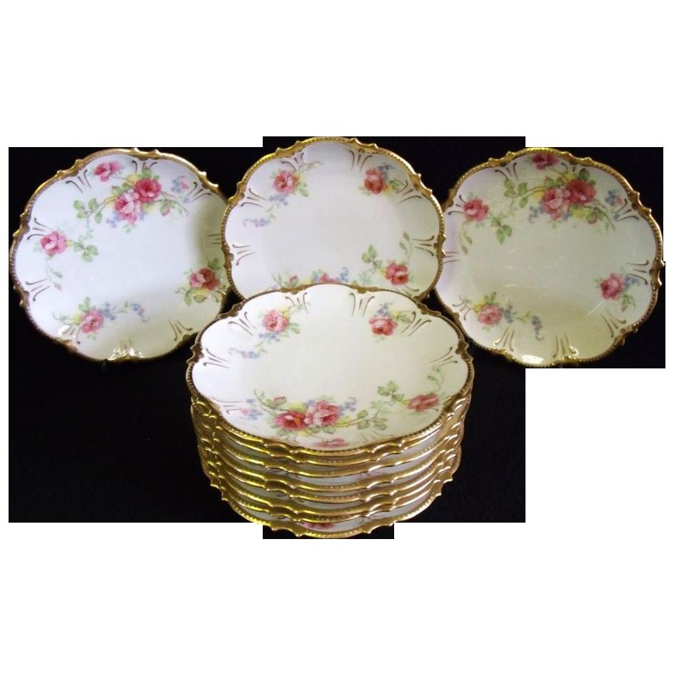 Beautiful set of antique coronet limoges porcelain plates Beautiful plates