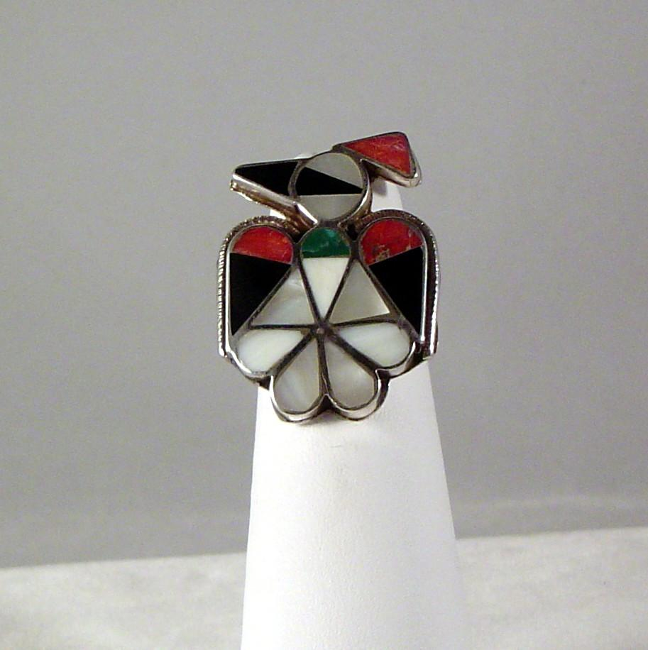 Vintage Zuni Channel Inlay Peyote Bird Ring