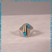 Contemporary Designed Sterling and Turquoise Ring ca 1970's