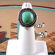 Vintage Navajo Sterling and Turquoise Ring ca 1970's