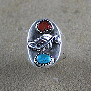 Navajo Cast Sterling and Turquoise and Coral Ring ca 1970-1985