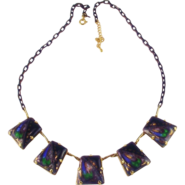 Vintage 1970's  Enameled Necklace...Too Cool