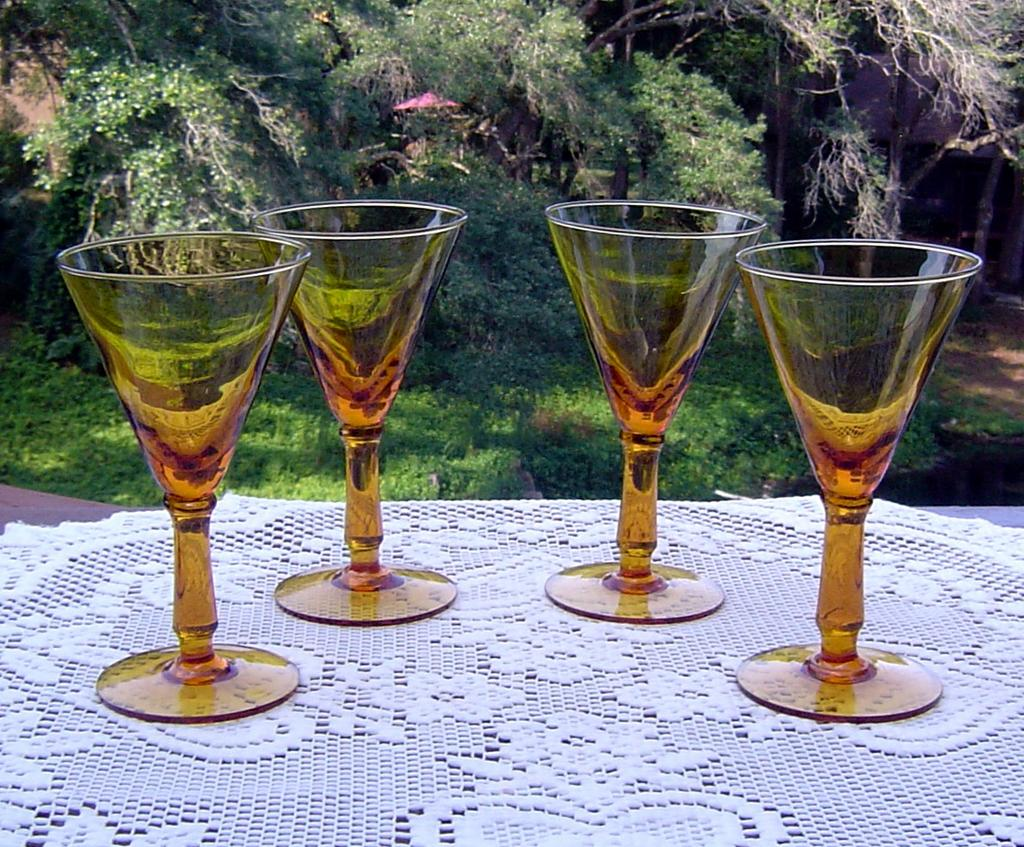 Rich Amber Cocktail Glasses