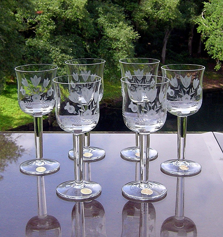 Set of 6 Vintage Gray Cut Cordials Made in Romania