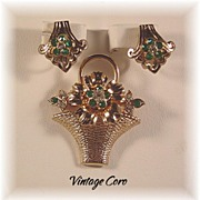 Lovely CORO Brooch and Earring set with Emerald Color Rhinestones