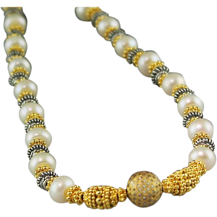 Dazzling Diamond and Cultured Freshwater Pearl Necklace with Sterling and Gold Vermeil Beads