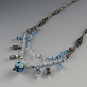 Hand Made Lampwork Bead and Sterling Necklace