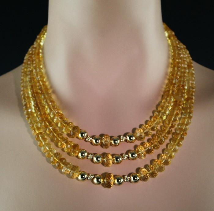 Golden Splendor: 14K Gold and AAA Natural Golden Citrine Necklace