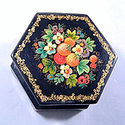 Fedoskino Russia Black Lacquer Box and Brooch